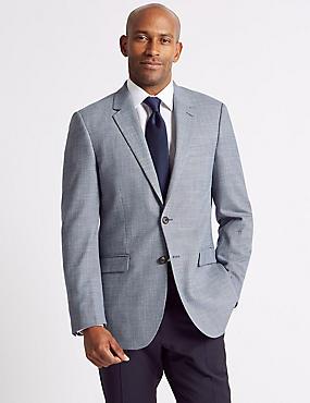 Textured 2 Button Jacket, BLUE, catlanding
