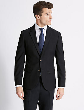Textured Tailored Fit Jacket, NAVY, catlanding