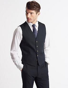 Cotton Rich Tailored Fit Waistcoat, NAVY, catlanding