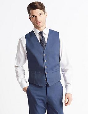 Cotton Rich Tailored Fit Waistcoat, DENIM, catlanding