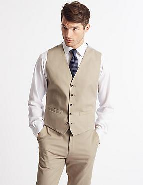 Cotton Rich Tailored Fit Waistcoat, NEUTRAL, catlanding