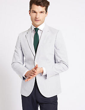 Pure Cotton Tailored Fit Jacket, WHITE/NAVY, catlanding
