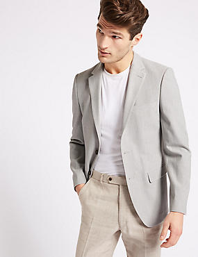 Slim Fit Textured Jacket, GREY, catlanding