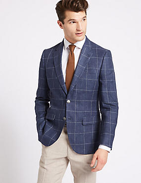 Pure Linen Checked 2 Button Jacket, NAVY, catlanding
