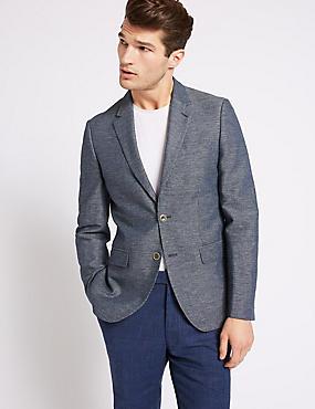 Cotton Rich Tailored Fit Jacket, INDIGO, catlanding
