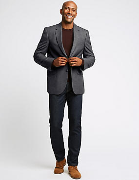 Charcoal Checked Regular Fit Jacket, CHARCOAL, catlanding