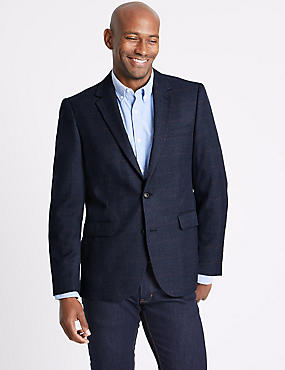Blue Checked Tailored Fit Jacket, BLUE, catlanding