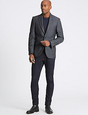 Big & Tall Textured Tailored Fit Jacket, GREY BLUE, catlanding