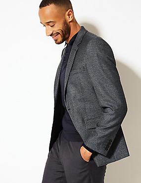 Textured Tailored Fit Jacket, GREY BLUE, catlanding