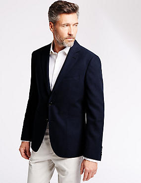 Tailored Fit 2 Button Textured Blazer with Linen