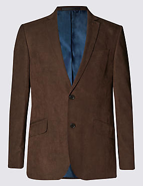 Faux Suede Notch Lapel 2 Button Jacket
