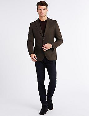 Textured Regular Fit Jacket, BROWN, catlanding