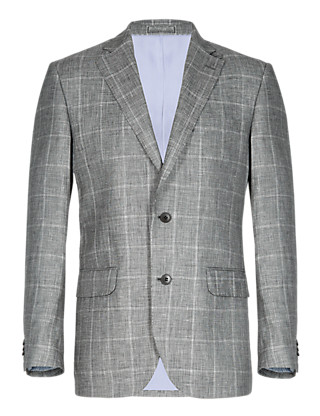 2 Button Large Checked Jacket with Linen Clothing