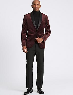 Textured Tailored Fit Jacket, DARK BURGUNDY, catlanding