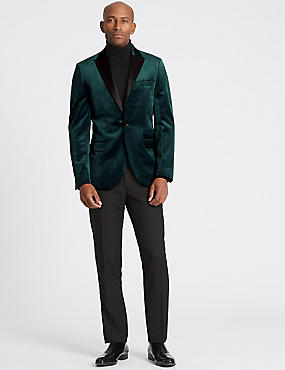 Textured Tailored Fit Jacket, DARK GREEN, catlanding