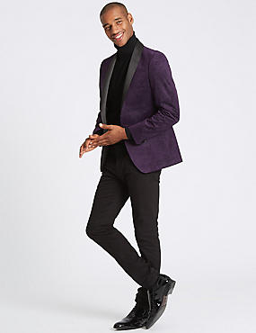 Printed Slim Fit Jacket, DAMSON, catlanding