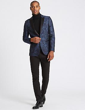 Slim Fit Patterned Jacket, NAVY MIX, catlanding