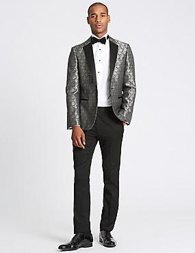 Slim Fit Jacket, SILVER MIX, catlanding