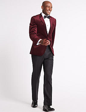 Tailored Fit Single Breasted Velvet Jacket