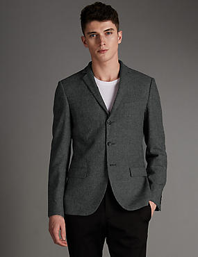 Slim Fit 3 Button Jacket with Linen