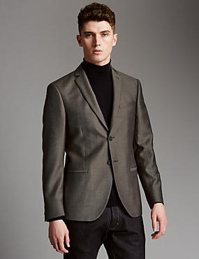 Pure Wool Tailored Fit Weave Textured Jacket