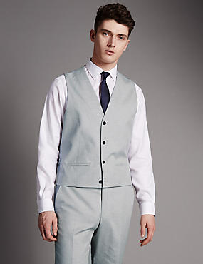 Pure Cotton Tailored Fit 4 Button Waistcoat with Buttonsafe™