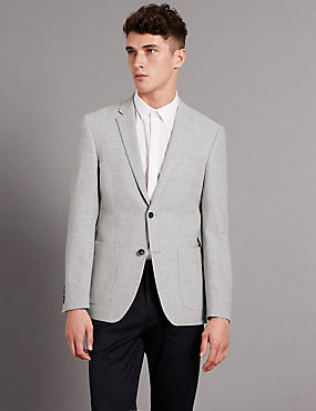 Wool Rich Textured 2 Button Jacket with Silk