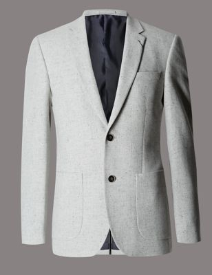 Light Grey Wool Rich Textured 2 Button Jacket with Silk Outfit