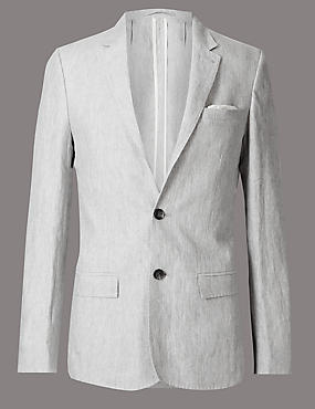 Grey Pure Linen Slim Fit Jacket