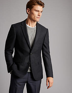 Wool Blend Textured Jacket, NAVY, catlanding