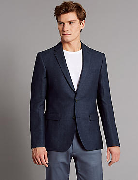 Linen Rich Tailored Fit Textured Jacket, NAVY MIX, catlanding