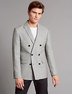 Linen Rich Tailored Fit Textured Jacket, GREY MIX, catlanding