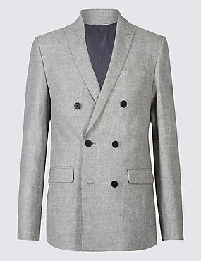 Linen Rich Tailored Fit Textured Jacket