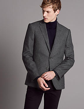 Textured Tailored Fit Jacket, NAVY MIX, catlanding