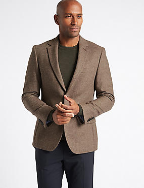 Pure Lambswool Wool Herringbone Jacket