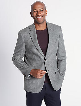 Pure Lambswool Herringbone Jacket
