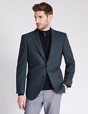 Pure Cashmere 2 Button Semi Plain Jacket with Buttonsafe™