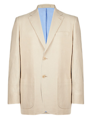 Big & Tall Linen Blend Notch Lapel 2 Button Jacket Clothing