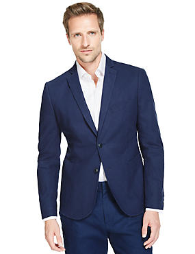 Linen Blend Slim Fit 2 Button Jacket