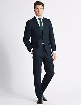 Linen Blend Regular Fit Jacket, NAVY, catlanding