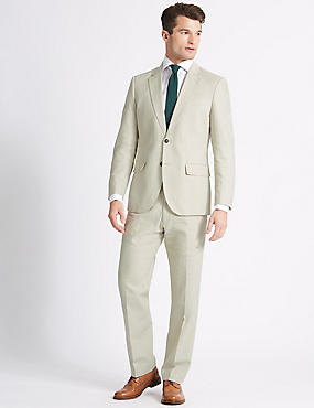 Linen Blend Regular Fit Jacket, NEUTRAL, catlanding