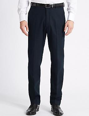 Linen Blend Regular Fit Trousers, NAVY, catlanding