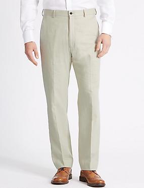 Linen Blend Regular Fit Trousers, NEUTRAL, catlanding