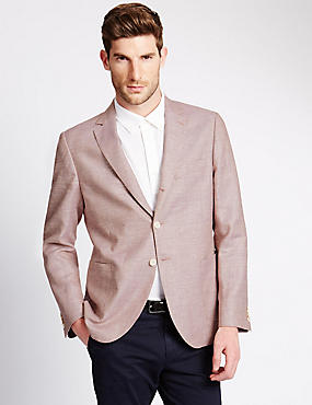 Linen Blend Tailored Fit 2 Button Jacket with Wool