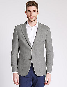 Wool Blend Tailored Fit Two Tone 2 Button Jacket with Buttonsafe™