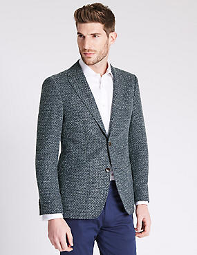 Tailored Fit Boucle Look Jackets with Buttonsafe™