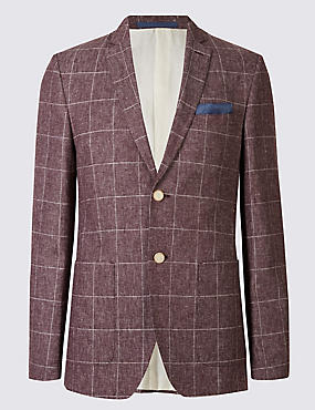 Linen Blend Window Pane 2 Button Jacket