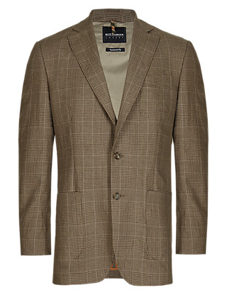 Luxury 2 Button Pure Linen Checked Jacket Clothing