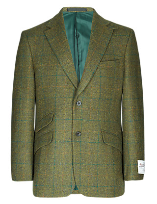 Pure Wool Harris Tweed 2 Button Checked Jacket Clothing