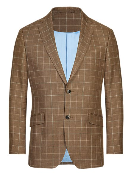 Notch Lapel 2 Button Deco Design Checked Jacket with Linen